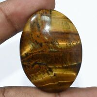 75 CTS A++ BRILLIANT NATURAL YELLOW FLASHY TIGER EYE OVAL LOOSE GEMSTONE CAB