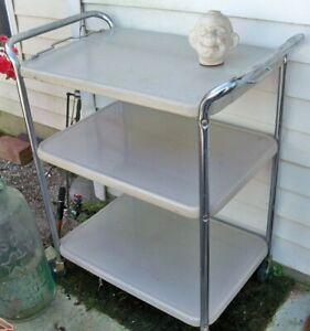 Vtg 3 Tier Cosco Metal Chrome Cart Kitchen Bar Serving Rolling Cart Mid Century