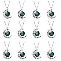 Halskette Sternzeichen mit Mond Anhänger Silber Kette Tierkreiszeichen Horoskop