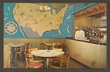 POSTCARD:  THE KING OF THE SEA RESTAURANT - NEW YORK CITY - INTERIOR / GIANT MAP