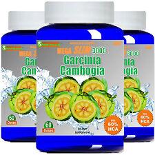 3x Garcinia Cambogia Extract MEGA 1000mg Weight Loss 60% HCA Potassium Calcium