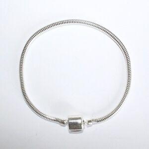 "CHARM BRACELET- 21cm-8.25""-3mm- MAGNETIC SNAP Solid 925 sterling silver European"