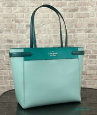 KATE SPADE STACI LARGE LEATHER LAPTOP TOTE SHOULDER BAG PURSE $449 Frosted Mint