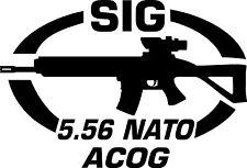 SIG 5.56 NATO ACOG Gun Rifle Ammunition Bullet exterior oval decal sticker car
