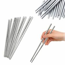 5 Pairs Chinese Traditional Chopsticks Non-slip Stainless Steel Chopstick Silver