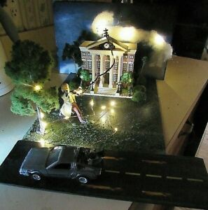 BACK TO THE FUTURE CLOCK TOWER  AND DOC brown  DISPLAY LIGHTS UP flashing read