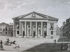 1845 TEATRO NUOVO DI MANTOVA VEDUTA ANIMATA ANTICA INCISIONE STAMPA E17