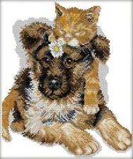 The Sleeping Cats. Dog. Puppy. 14CT Counted Cross Stitch. Craft Brand New