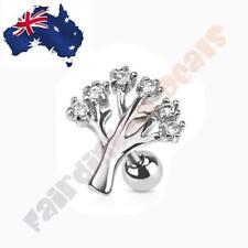 316L Surgical Steel Tragus/Cartilage Stud with Clear Cubic Zirconia Gem Tree