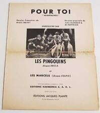 Partition sheet music LES PINGOUINS : Pour Toi (Heartaches) * 60's MARCELS
