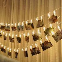 10LED Foto Scheda Clip Stringa Fairy Luce Matrimonio Casa da Parete Decorazione