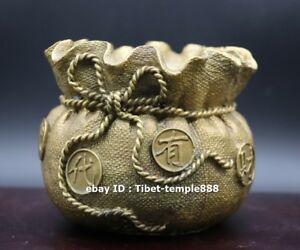 13 CM Chinese Pure Brass Bronze Wealth Fengshui Money Bag treasure Sack pot jar