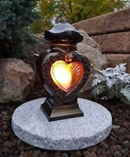 Grablaterne + Granitsockel  Grablampe Lampe Grableuchte Grablicht Kerze Herz