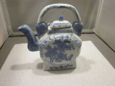 "Vintage Blue and White Porcelain 6 1/2"" Tall Teapot with Lid  CHINA"