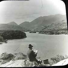 Vtg Keystone Magic Lantern Slide Photo Lakes Of Killarney Ireland Book Reader