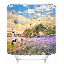 "Polyester Waterproof Fabric Windmill Cow Flower Bath Shower Curtain Hooks 60x72"""