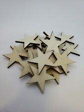 50 qty Small 1 1/4 inch Star Wood Embellishments Crafts Flag Wooden Decor DIY
