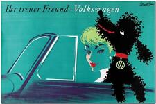 "VINTAGE VOLKSWAGEN VW Beetle Ad Poster FRAMED CANVAS PRINT 24""x16"" best friend"