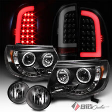 For 05-11 Tacoma Pro Headlights + Black Smoked Optic-Tube LED Tail Lights + Fog