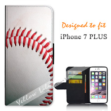 Apple iPhone 7 PLUS Wallet Flip Phone Case Cover Real Baseball Y00779