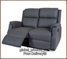 LUXURY Cinema Sofa Double Settee Grey Vintage Armchair Home Couch Recliner Seat