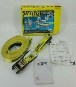 Gibbon Classic Slackline Set 49 Feet 15 Meters Yellow Black 2 Inch Wide