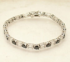 "7.25"" Black Clear Zircon Baguette CZ Tennis Bracelet Real Solid Sterling Silver"