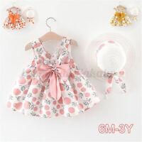Toddler Baby Girls Summer Sleeveless Strap Dot Princess Dresses W/ Hat     AU