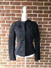 Alexander McQueen Black Silk Sheer Gathered Button Down Jacket Womens Sz 46 EUC