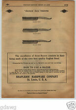 1913 PAPER AD 4 PG Diamond Edge Straight Razor Shapleigh Tortoise Shell King