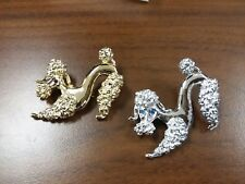 Lot Of 2 Fabulous Vintage Estate Signed Gerrys Gold & Silver Poodle Brooches