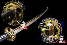 JAPANESE BATTLE READY 9260 SPRING STEEL KATANA GOLDEN DRAGON TSUBA SWORD