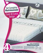 COMPLETO LENZUOLA COTONE MATRIMONIALE COTONE LENZUOLO FEDERE CUOR DI LANA BEIGE