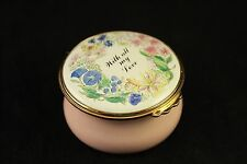 Kingsley Pink Enamel Pill Trinket Box With All My Love Worcestershire England