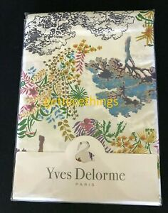 $285 Yves Delorme Queen Flat Sheet White Purple Multi Toile Egyptian Cotton New