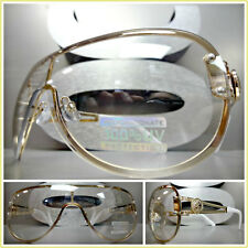 CONTEMPORARY MODERN SHIELD Style Clear Lens Light Tint SUN GLASSES Gold Frame