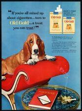 1954 OLD GOLD Cigarettes - Cute BASSETT HOUND Puppy Dog - Pet - Retro VINTAGE AD