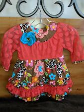 Rare Editions Girl's Orange Brown Floral Ruffled Long Sleeve Dress Size 12 Month