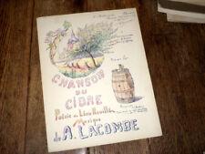 chanson du cidre poésie de Léon Rouillé piano chant 1925 A. Lacombe signé