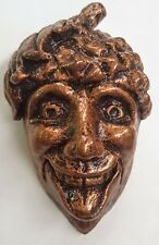 Green man wall plaque leaf face bronze color gothic acorn man face
