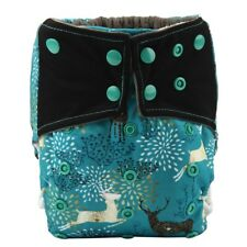 Baby Cloth Diaper Nappy Cover Bamboo Charcoal Reusable Gussets Regal Deer