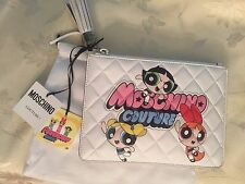 Moschino Couture X Jeremy Scott JS Quilted White POWERPUFF GIRLS Pouch / CLUTCH