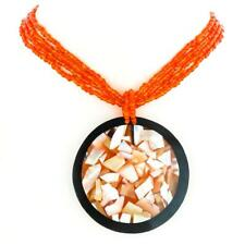 SALE! 60MM MOTHER OF PEARL SHELL PENDANT ORANGE BEADS necklace