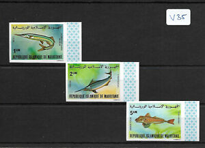 SMT, MAURITANIA,1979, a very rare fishes set, IMPERF, LUXURY, MNH, RRR
