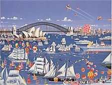 """Hiro Yamagata       """"Boat Parade""""       Serigraph on Paper   BA"""