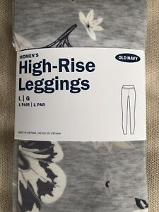 OLD NAVY LADIES HIGH RISE LEGGINGS L GRAY FLORAL