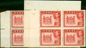Fiji 1948 8d Karminrot SG261c P.14 Fein MNH Block Of 4