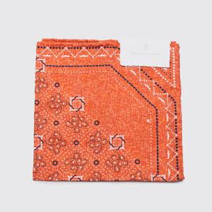 Brunello Cucinelli Pocket Square Orange Silk Cotton Print