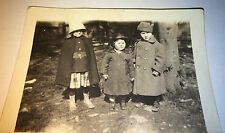 Antique Adorable Little American Children Chubby Cheeks & Coats Snapshot Photo!