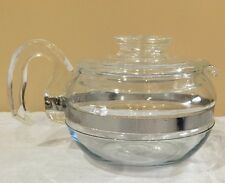 VTG Pyrex Glass Flameware Blue Tint Tea Coffee Pot 6 Cup 8446B With Lid 7756-N25